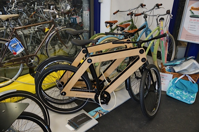 New Ply Sandwich bikes. I did see some bamboo bikes also but wasn't poised with camera ready to shoot.