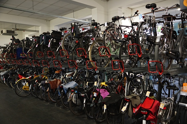 Bikes - an industry in itself. This was one such Bike Hire facility; along side was a huge maintenance workshop.