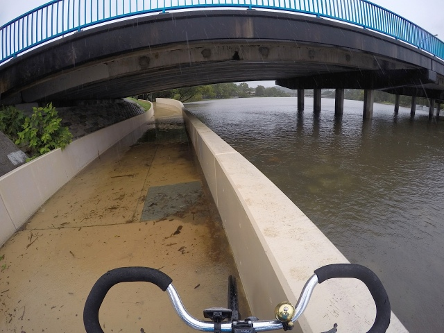 Thrower Bridge underpass under water on Currumbin Creek.
