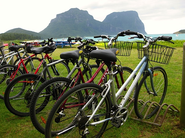 Bike parking by the lagoon on Lord Howe Island