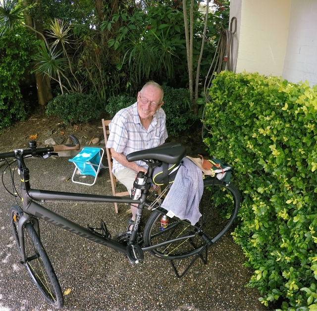 Bob working on his bike