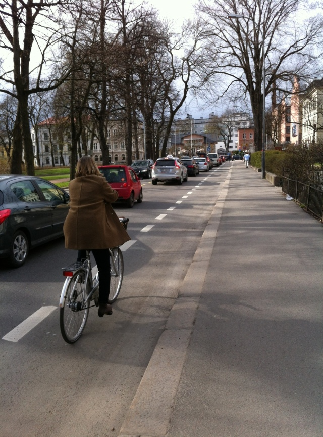 Bicycle lanes in the city centre.