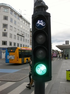 Bicycle traffic lights regulate the flow of bicycles  in the bicycle lanes.