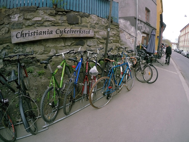 The footpath bicycle workshop run by the former coach of the Norwegian cycling team visiting Australia in the 1980s.