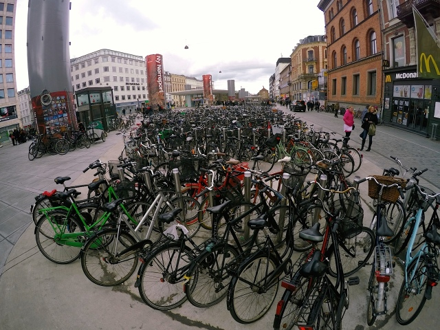Commuter parking at Norrebro train station.