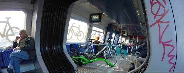 And inside the train, the bicycles are parked securely in racks.