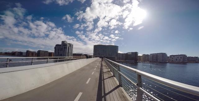Over Bryggebro Bridge after the Cykelslangen.