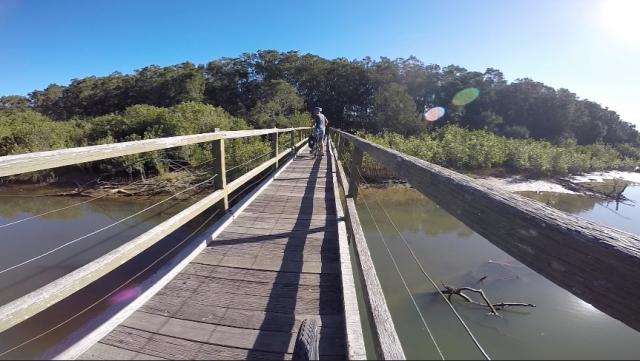 Heading north, a pedestrian bridge takes us across Woolgoolga Creek.
