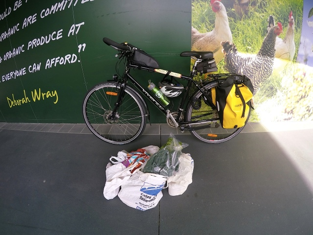 Groceries waiting to be packed into panniers