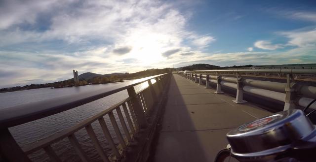 Crossing Lake Burley Griffin via Kings Avenue Bridge.