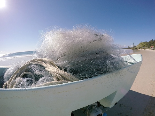 Nets in fishing boat used to catch Sea Mullet.