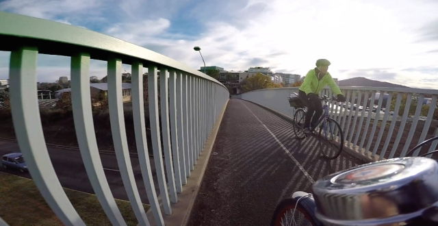 Crossing the pedestrian/cycle bridge that I had to find.