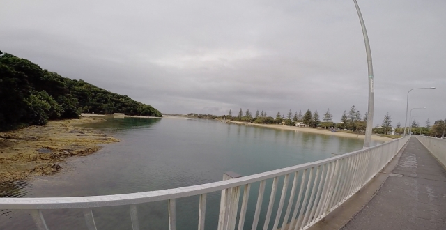 Grey skies crossing Tallebudgera Creek