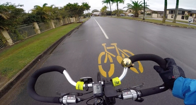 View from my handlebars on a rainy day.