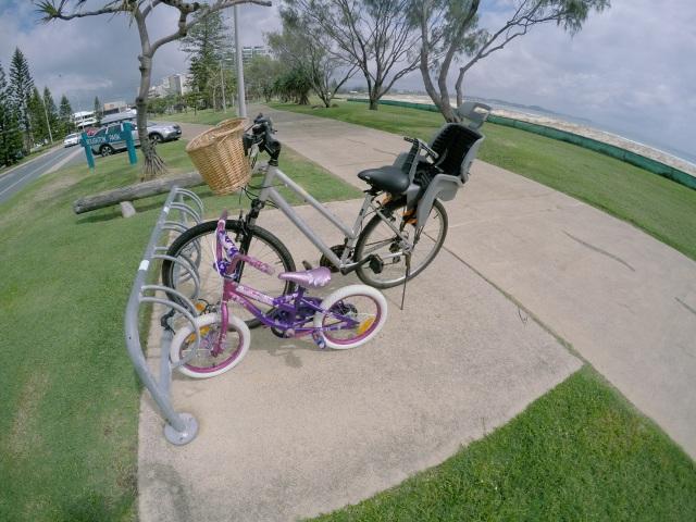 Little bike big bike at Kirra Beach