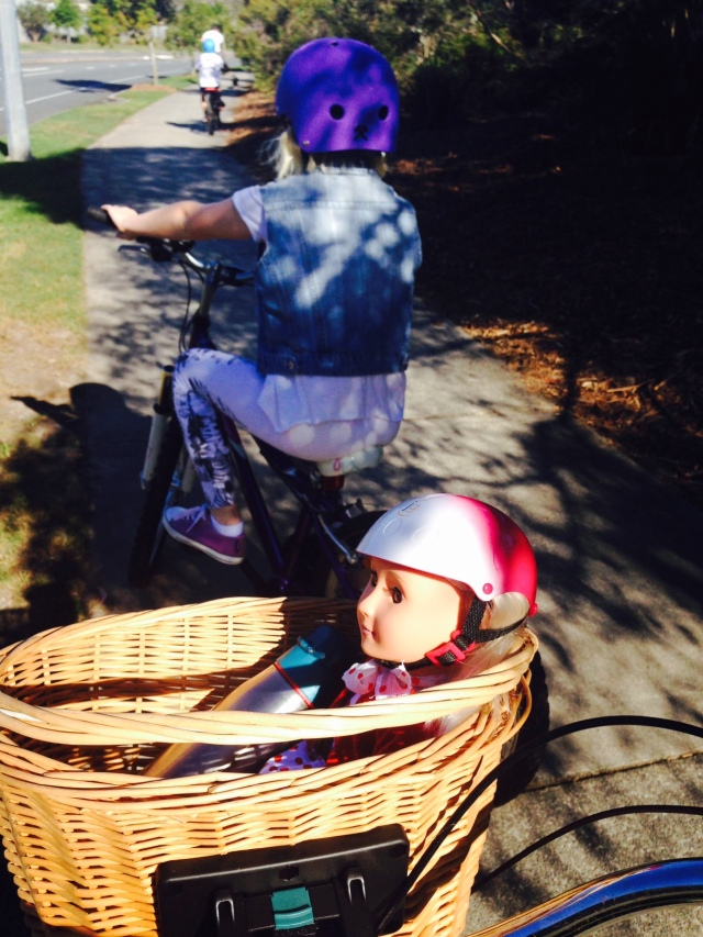 Safely in the basket, Rose rides too, complete with helmet! Photo: TL Coker
