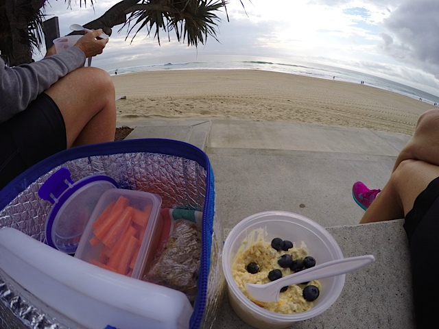 Picnic breakfast by bicycle... with a beach view.