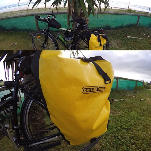 My yellow pannier for carrying things.