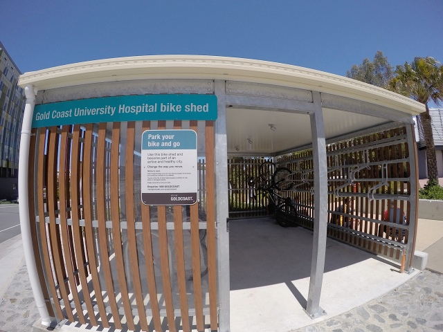 For visitors to the campus, this Gold Coast City Council bike shed provides undercover racks.