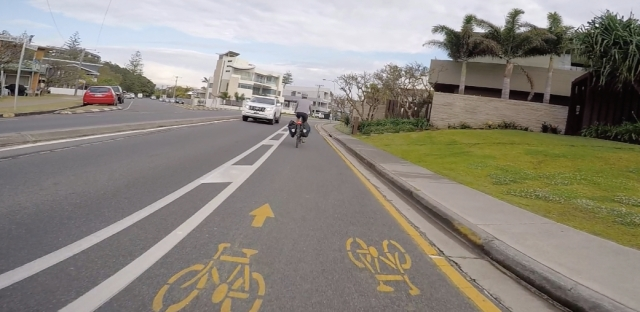 Dedicated bicycle lane makes commuting easy between Miami and Broadbeach.
