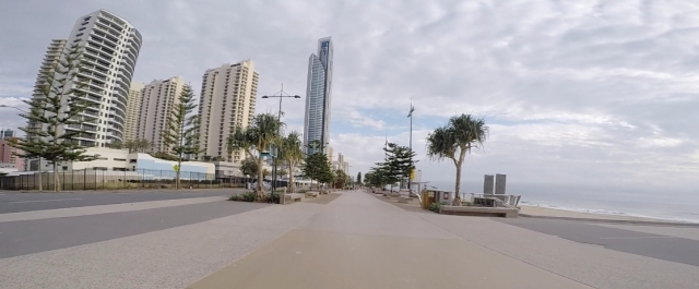 Arriving at Surfers Paradise esplanade.