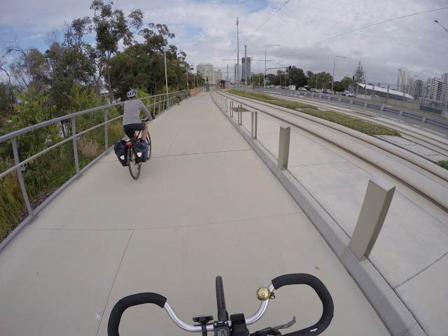 G:link Tram tracks along side smooth cycleways.