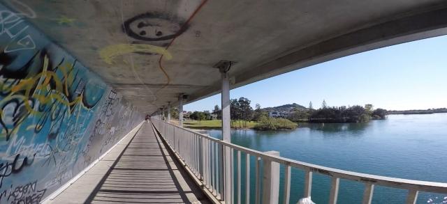 Cycleway under M1 highway crossing Terranora Creek on my ride home.