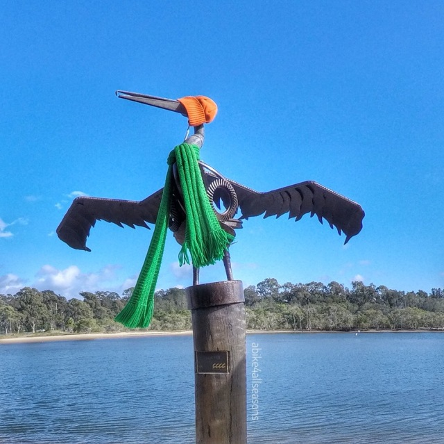 Yarnbombed pelicans photographed by Gail Rehbein
