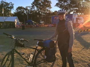 Jane at Stanthorpe after registering at HQ. Excited? Yes!