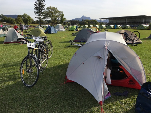 Campsite at Murwillumbah Showgrounds with Wollumbin in the background.