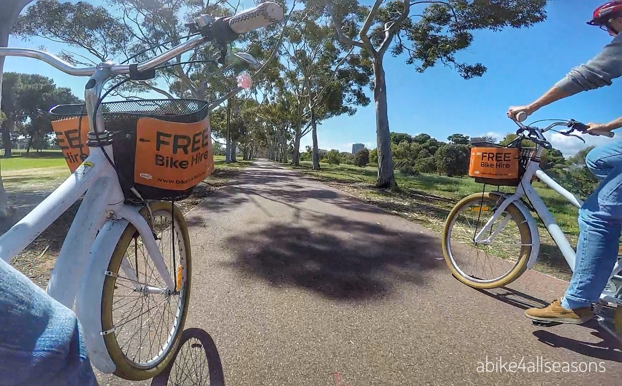 Riding Adelaide Free Bikes on Park Lands Trail