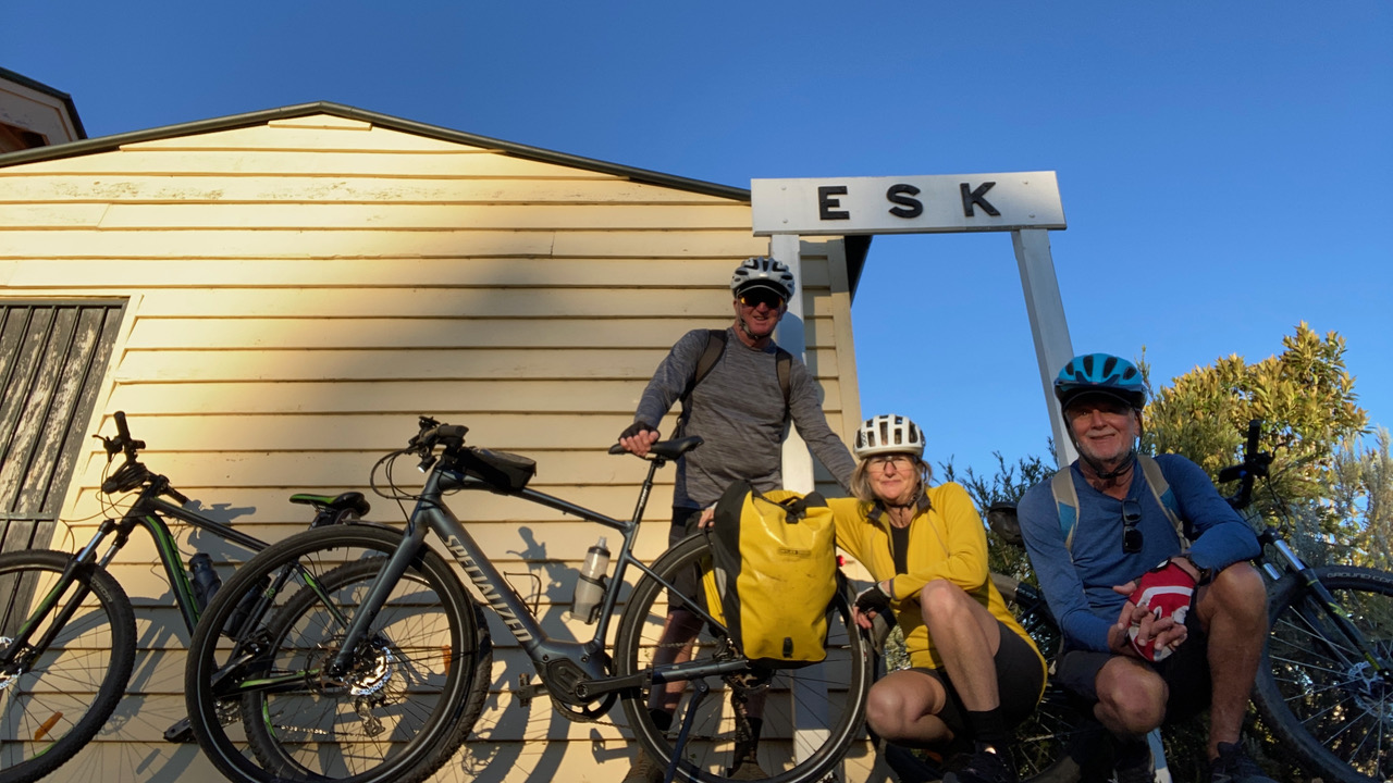 Our cycling trio on arrival at Esk.