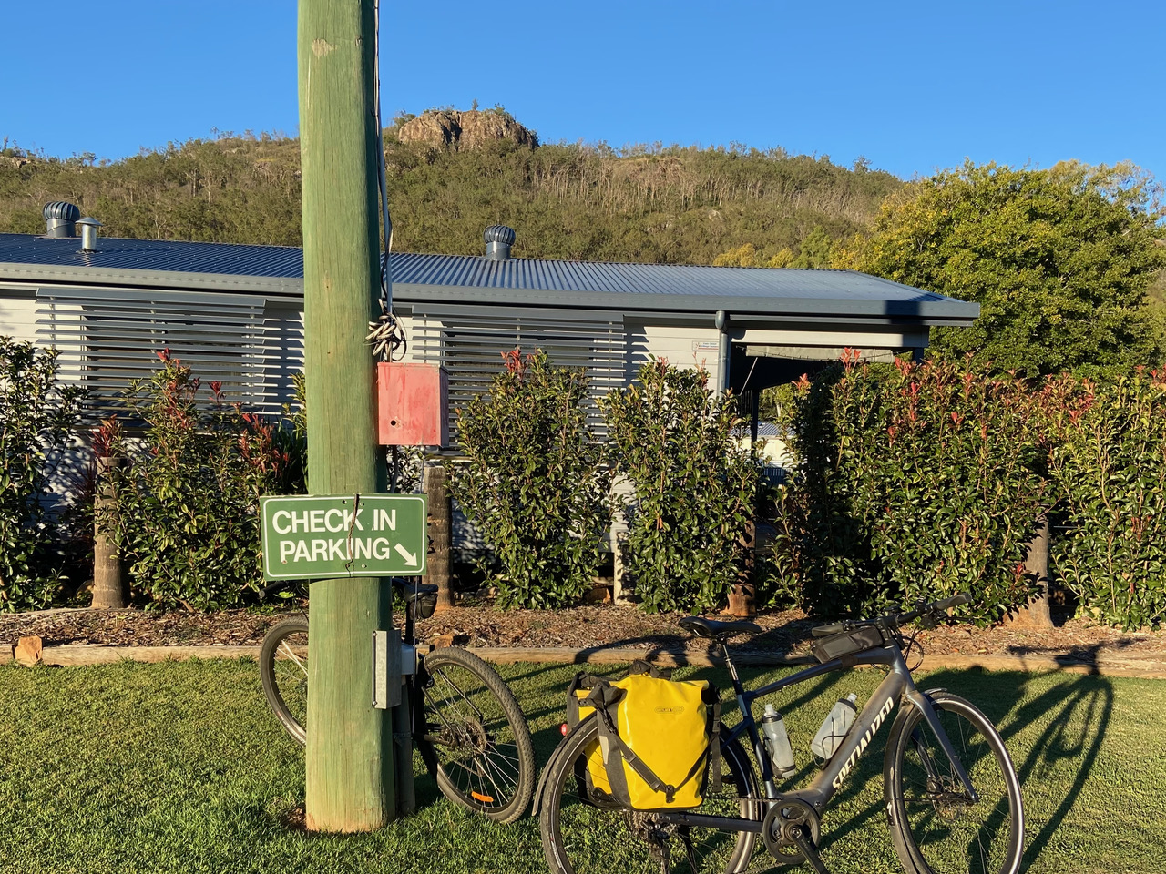 Check-In Parking :-) at Esk Caravan Park with Mt Glen Rock in the background.